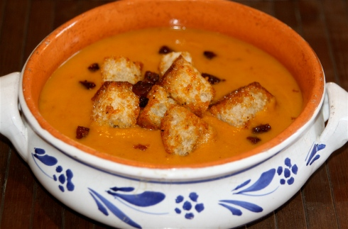 Butternut Squash & Chorizo Soup with Chorizo Croutons