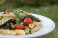 Garden Pasta with griddled courgettes, cherry tomatoes & feta