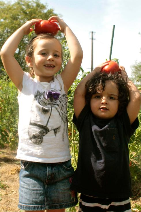 Louisa's two little tomato picker helpers having fun