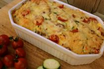 Cheese, Courgette & Cherry Tomato Bread & Butter Pudding