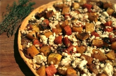 Butternut, Feta & Red Onion Tart with Pine Nuts and Thyme