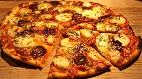 Chorizo, Potato & Rosemary Pizza