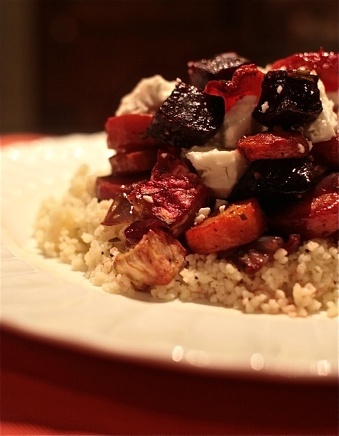 Roasted Roots with Feta and Couscous