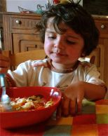 Jacques eating Roasted Tomato Risotto