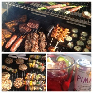 BBQ Time - Pimm's Salad, Blue Cheese Mushrooms, Turkey, Banana & Apricot Burgers