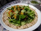 Salmon Tikka Chapati with Mint & Coriander Raita